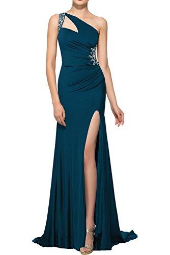 Asymmetrisch Strass Cocktailkleider Promkleider Elegant mit Ein Blaugruen Partykleider Damen Schleppe Abendkleider Rueckfrei Traeger Ivydressing wzSqEg1