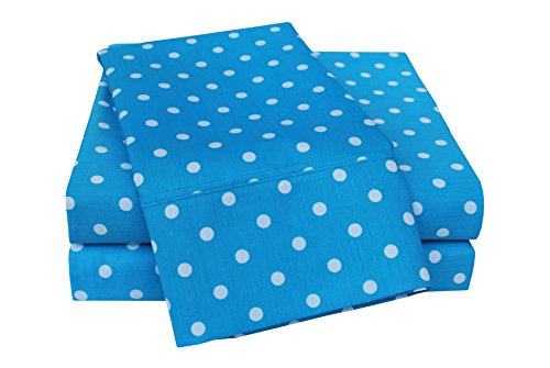 Superior Polka Dot Sheet Set, 600 Thread Count Cotton Ble...