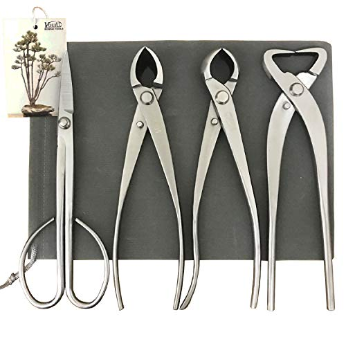 vouiu 4-Piece Bonsai Tool Set,Concave Cutter,Knob Cutter,Trunk Splitter,Bonsai Scissors