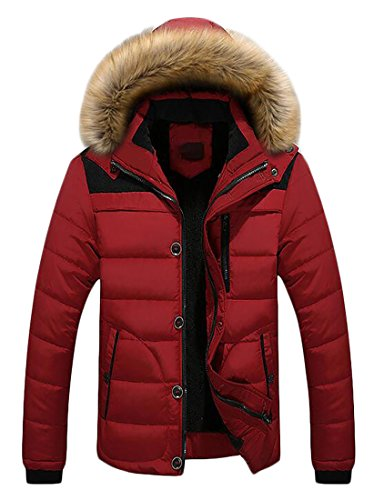 Warm Jacket Down Puffer Hoodie Fur Quilted Hot Faux Mens UK Winter Red Brd IWq81PC