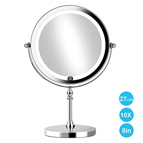 Round Double Sided Mirror - 8in Lighted Makeup Mirror 10x Magnifying Double Sided Round Mirror with 27pcs LED,Powered by 4xAAA Batteries (Not Included)