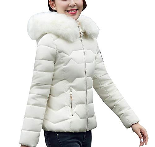 EnergyWomen Warm Short Big Pockets Hood Fur Collar Cotton Puffer Jacket White