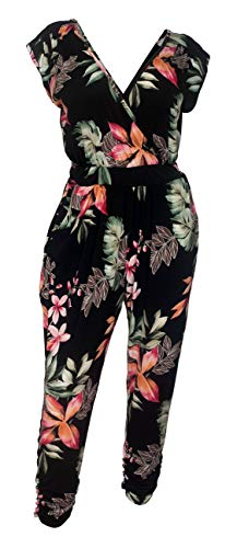 eVogues Plus Size Deep V-Neck Jumpsuit Black Floral Print - 2X ()