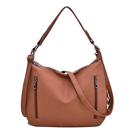 (Bag Women's Hobos Black Handbags For Women Leather Shoulder Bags 2 Zippers Classic Style Ladies Hand Bags,Brown,About 33cm-13cm-25cm)
