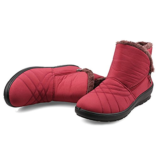 Shoes Winter Size Low Comfy Womens Boots Snow Heel Fur Red Waterproof Gaatpot Boots Non Slip Lining Short Boots Ankle Flats Warm qHtwxUx1S