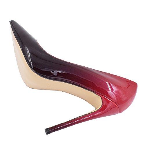 Lovirs Womens Punta A Punta Tacco Alto Slip On Stiletto Pumps Scarpe Da Sposa Basic Shoes Rosso-nero