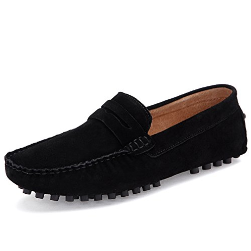 [Ceyue Men's Loafers Leather Moccasins (12.5, black)] (Italian Suede Penny Loafer)
