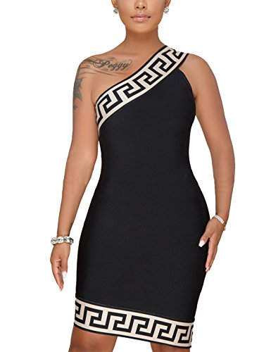 Price comparison product image Flovey Women's Sexy One Shoulder Bodycon Dress Summer Sleeveless Mini Dress Plus Size (Black, XL)