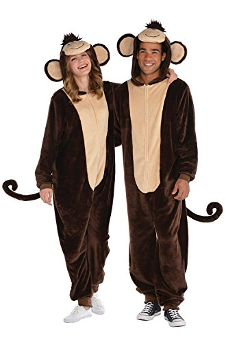 AMSCAN Zipster Monkey One Piece Pajama Halloween Costume for Adults, Small/Medium, with Attached Hood and ()