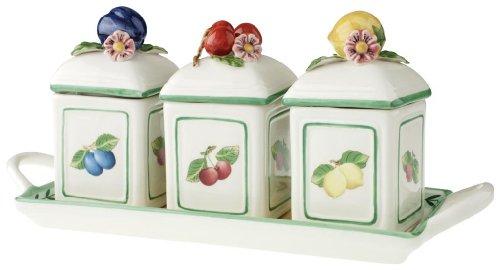 Villeroy & Boch French Garden Charm Marmeladendosen-Set 3tlg. mit Tablett