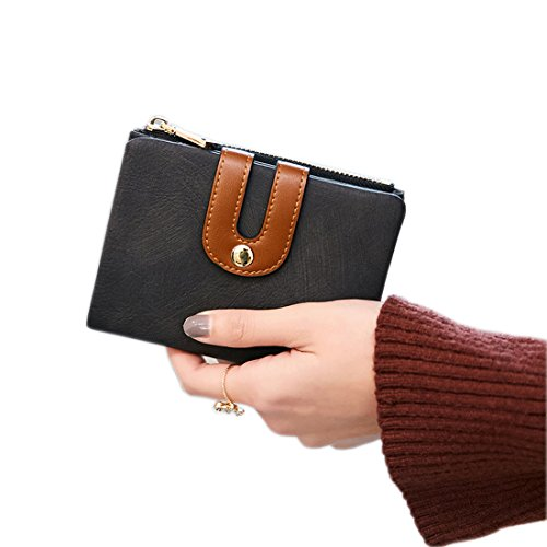 Women's Rfid Small Bifold Leather Wallet Ladies Mini Zipper Coin Purse id card Pocket,Slim Compact Thin (Black)