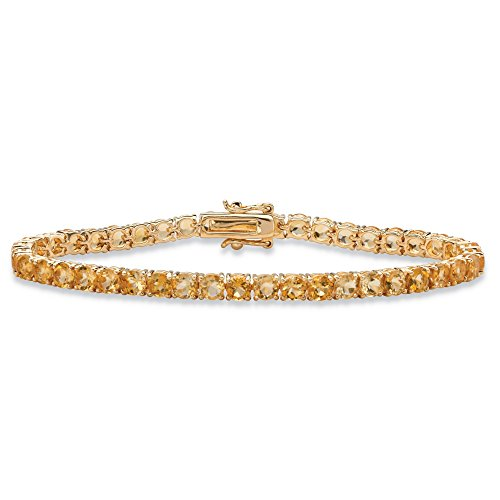 Round Genuine Yellow Citrine 18k Yellow Gold-Plated Tennis Bracelet 7.25