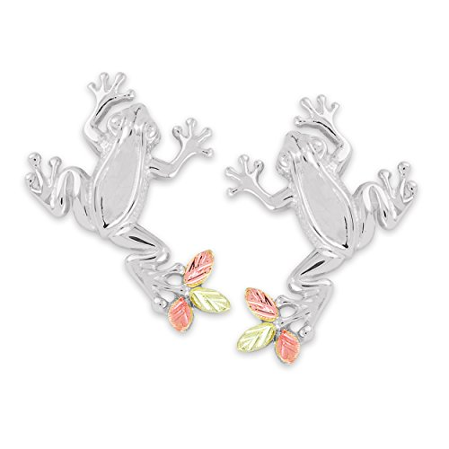 Petite Frog Design Earrings, Sterling Silver, 12k Green and Rose Gold Black Hills Gold Motif by Black Hills Gold Jewelry (Image #5)