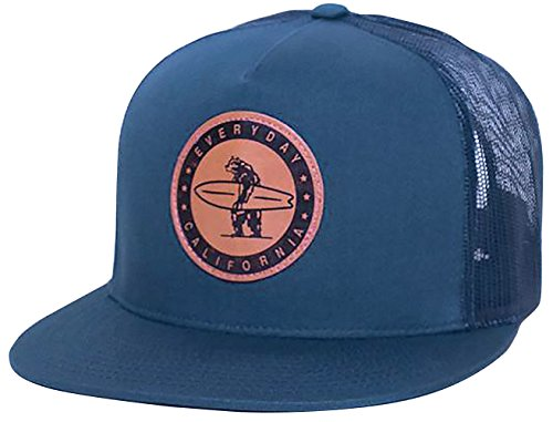 Snapback Hat - Everyday California - The Midway -Surfing Hat - Baseball Cap - Navy Blue - Flat Brim - Vegan Leather Patch - One Size Fits Most …