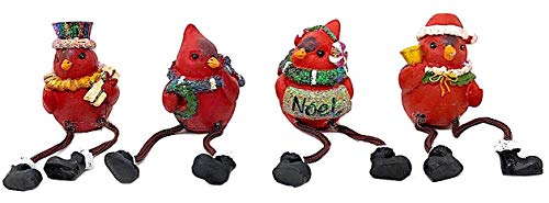 Red Cardinal Shelf Sitter Figurines Collectibles Mantel Fireplace Bookshelf House Warming Hostess Gifts Present Favors Christmas Holiday Small Crafts Ornament Decor Set of 4 (3