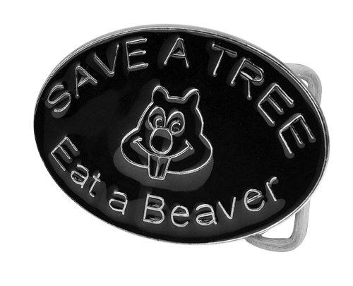 isex Save a Tree Eat a Beaver Humor Belt Buckle Black Enamel (Black Enamel Buckle)