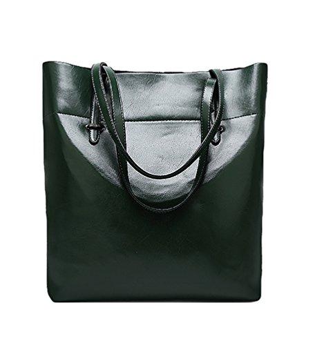 LvRao Damen Schulter-Beutel Pu Leder Handtaschen Frau Einkaufstasche Grün Grün