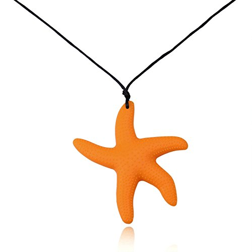 Aooaz Baby Teething Necklace Chew Necklace For Mother Mom Chain Silicone Star Design Orange Chain - Baby Spice Necklace