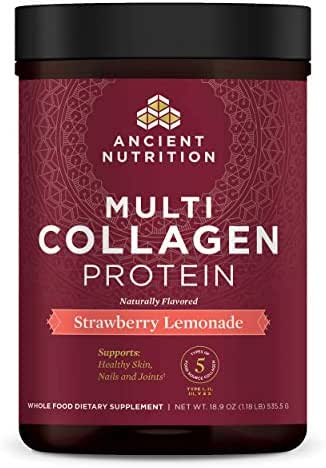 Ancient Nutrition Multi Collagen Protein Powder, Strawberry Lemonade, Formulated by Dr. Josh Axe, Hydrolyzed Collagen Supplement Supports Joints, Hair, Skin and Gut Health, 18.9oz…