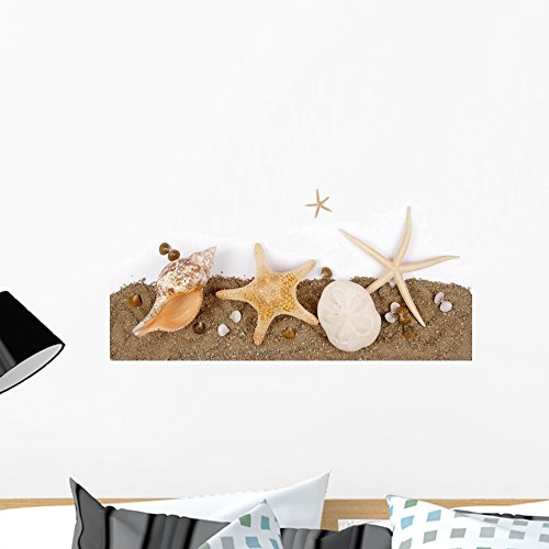 Wallmonkeys Beach Sand with Sea Shell and Star Fish Postcard Wall Decal Peel and Stick Graphic WM252742 (24 in W x 24 in H) (Wall Shell Horizontal)