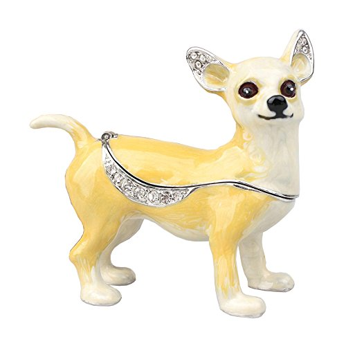 Dog Hinged Trinket Box - Trinket Box Enameled Dog Figurine Collectable Jewelry Ring Holder Organizer