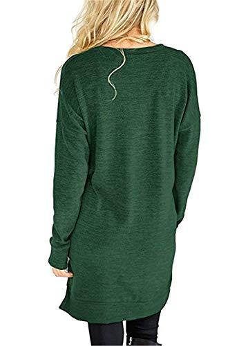 Modern Camicetta Baggy Tshirts Donna Abbigliamento Lunga Giovane T Con Stile Tasche Grau Tops V Shirts Manica Eleganti Accogliente Neck Moda Primaverile Casual Monocromo Camicia 1SHppOqW