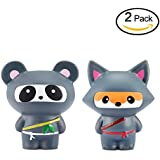 Xstars Doll Squishy Squishies Slow Rising Soft Set of 2 Ninja Fox and Panda for Kids Friends,Gift Package(2PCS)