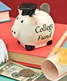 "Adorable Ceramic Mini PIGGY BANK - College Fund - 3"" x 3"" Great HIGH SCHOOL Graduation Gift Add-on/Kindergarten Graduate - Elementary with Mortarboard Cap"