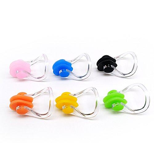 BRBD Set of 6 Waterproof Silicone Swimming Nose Clip Plugs for Adults Children Age 7+ (6 Pack) (Best Swimming Nose Clip)
