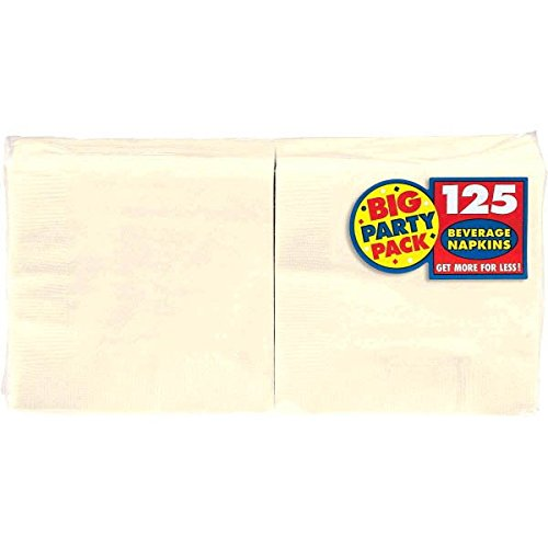 Big Party Pack Vanilla Creme Beverage Napkins   Pack of 125   Party Supply