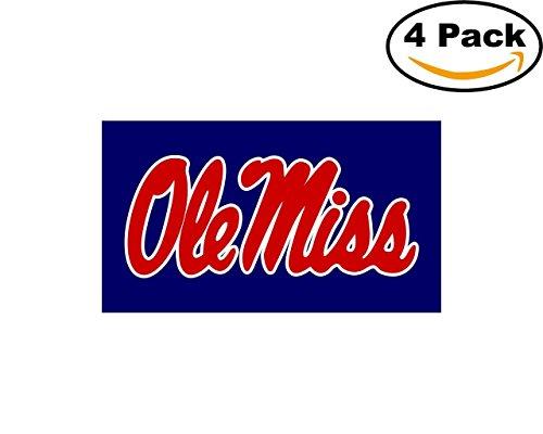 Ole Miss Script Logo University Vinyl Sticker Decal Logo NCAA 4 Bumper Window Stickers (Ole Miss Salt)