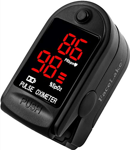 FaceLake Pulse Oximeter Blood Oxygen Saturation Monitor, Neck/wrist Cord, Carrying Case and Batteries included