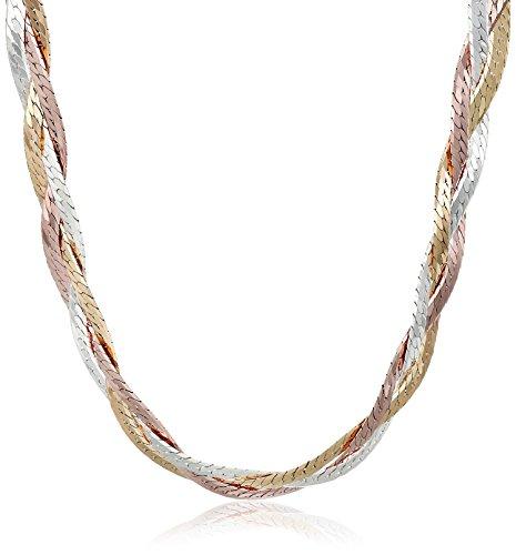 Sterling Silver Italian Tri-Color Three-Strand Braided Herringbone Chain Necklace, 18