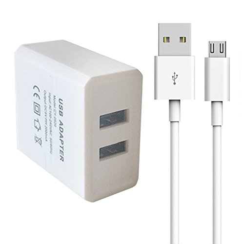 Dual USB Charger and Power Adapter for Fire Tablets and Kindle eReaders, Amazon Fire TV Stick, Fire 7 Tablet, Kindle Paperwhite E-Reader,Kindle Voyage E-Reader,HD 8 10 Tablet,Echo Dot(White)
