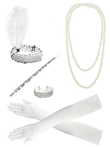 Zivyes 1920s Flapper accessories Feather Headband Choker Necklace Gloves Cigarette Holder