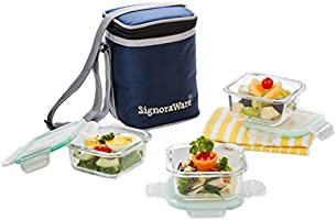 Signoraware Director Glass Lunch Box Set with Bag, 310ml/13cm, 3-Pieces, Transparent