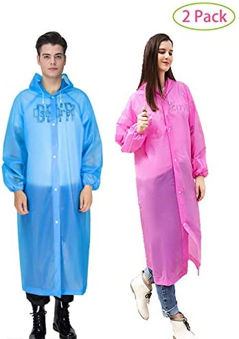 YiHee 2 Packs Adult Rain Poncho, Portable Reusable Emergency Raincoat with Drawstring Hood for Men Women, Rain Coat for Outdoor Activities - Blue&Pink