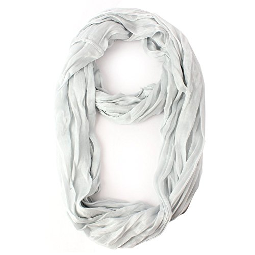 Feria Mode Silky Scrunch Wrinkled Look Infinity Circle Ring Scarf (Silver)