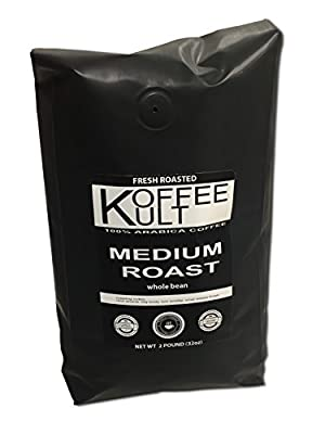 Koffee Kult Coffee Beans Medium Roasted - Highest Quality Delicious Coffee - Whole Bean and Ground Coffee - Fresh Roasted Gourmet Aromatic Artisan Blend É from Koffee Kult Corp