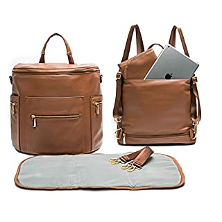Leather Diaper Bag Backpack by Miss Fong, Baby Bag,Backpack Diaper Bag with Changing Pad,Wipes Pouch,Diaper Bag Organizer,Stroller Straps and Insulated Pockets(Brown-Convertible)