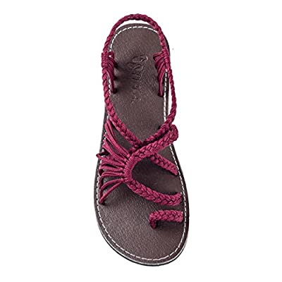 Plaka Flat Summer Sandals for Women Palm Leaf