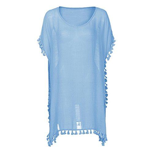 Plage Clair de de Dihope pour Dcontracte Blouse Tunique t up bain Vacances Femme Bleu Lache Cou V Maillot Robe Bikini Cover 1ZRrnaYxZ