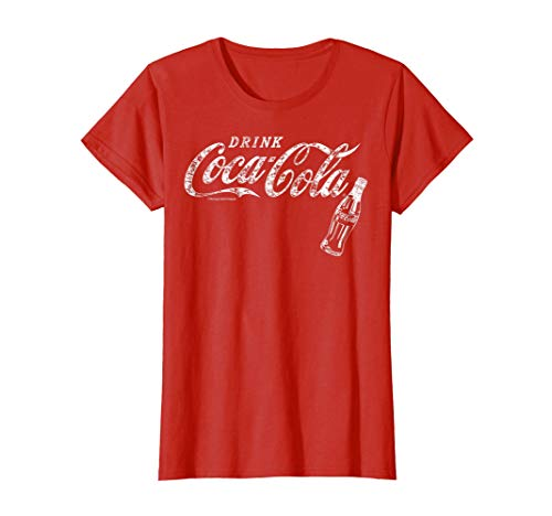 Womens Coca-Cola Vintage White Drink Logo Bottle Graphic T-Shirt XL Red