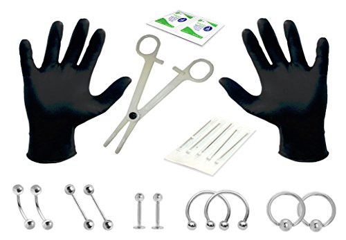 Piercing Kit (Body Piercing Kit 14G Professional Body Piercing (Belly Button, Eyebrow, Nipple, Lip, Nose) 20 Pieces)
