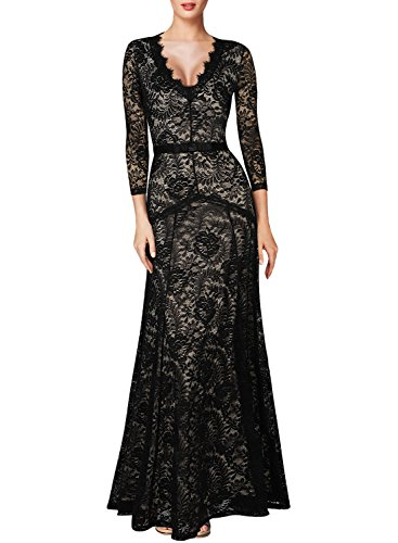 Miusol Women's Floral Lace 2/3 Sleeves Long Bridesmaid Maxi Dress, Black, X-Large -