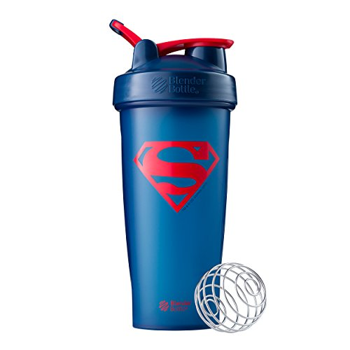 BlenderBottle Justice League Superhero Classic 28-Ounce Shaker Bottle, Superman (Superman Classic)