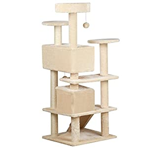 "Yaheetech 52"" Cat Tree Tower Condo Furniture Scratch Post Kitty Pet House Play Beige"