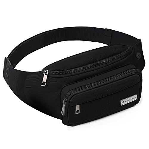 Chest Strap On - MYCARBON Fanny Packs for Women and Men Cute Large Capacity Waist Pack Non-bounce Running Belt for Travelling Non-slip Cotton Belt Fanny Bag Durable Waist Pouch for Hiking Cycling Running Working Black