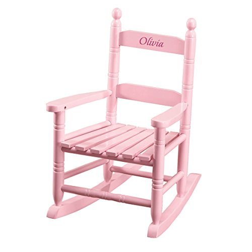 (Miles Kimball Personalized Children's Rocking Chair, Features Classic Rocker Design and Hardwood Construction, Pink Finish with Pink)