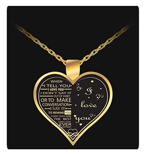 I Love My Wife Charm - Gold Necklace Heart - Gift For Her